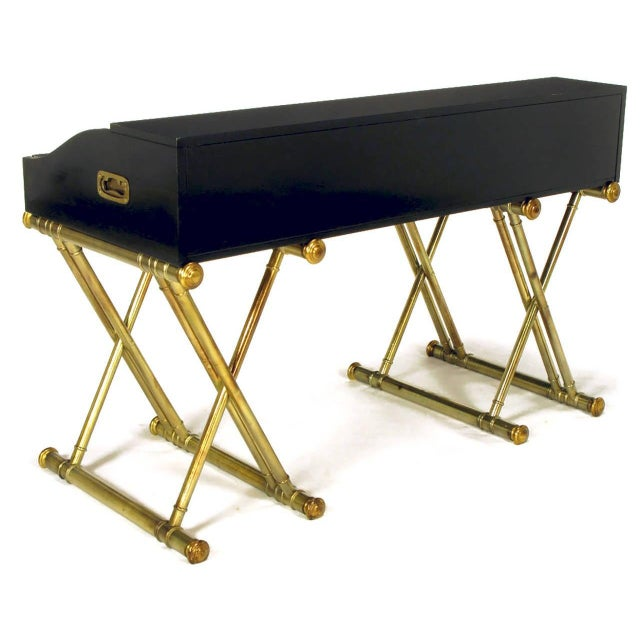 Black Lacquer Brass Faux Bamboo Base Campaign Secretary Roll Top Style Desk For Sale In Dallas - Image 6 of 7