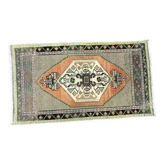 Vintage Ethnic Design Turkish Handmade Orange and Gray Small Rug For Sale