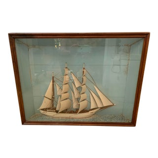Antique Clipper Ship Shadow Box For Sale