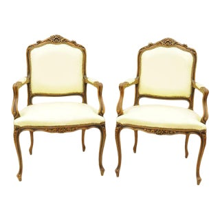 Late 20th Century Vintage Chateau d'Ax Louis XV Style Italian Arm Chairs- A Pair For Sale