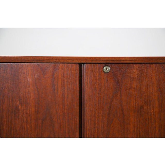 Mid 19th Century Small Mid-Century Modern Lockable Walnut Cabinet or Mini-Bar or Dry Bar For Sale - Image 5 of 13