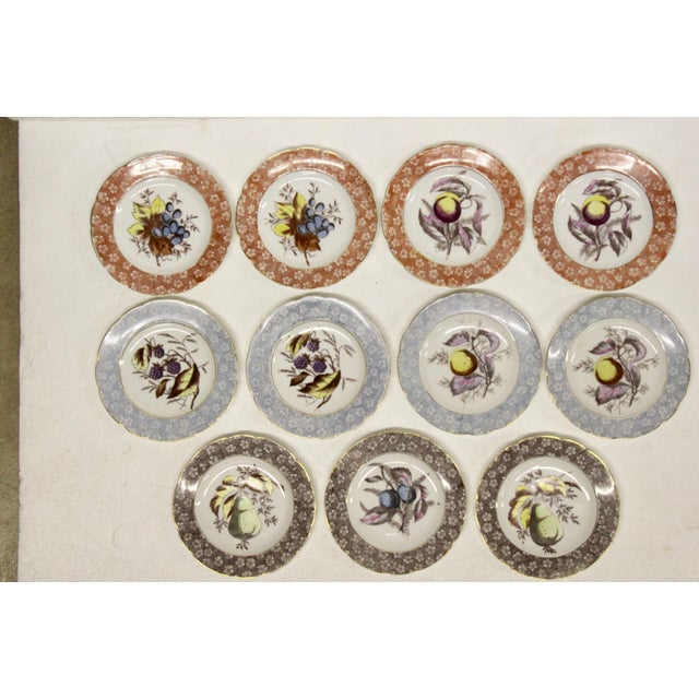 Set of 11 antique Austrian dessert plates by Karlsbad, Circa late 1890s. Features bordered rims with a hand-painted fruit...