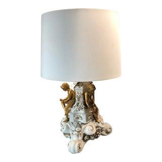 Vintage Rococo Gilt & Glazed Ceramic Rococo Table Lamp Figural Motif For Sale