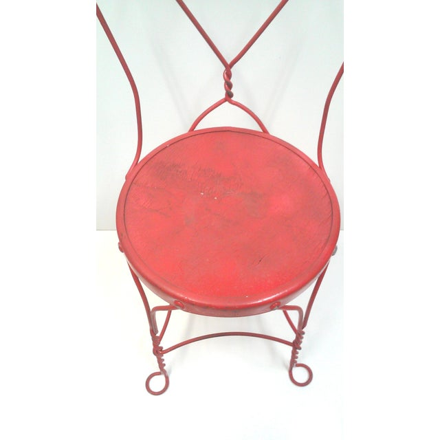 Red Iron Ice Cream Cafe Chair - Image 4 of 10