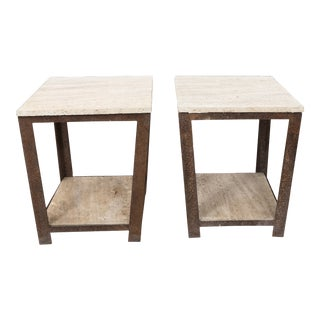 Travertine Top Iron Side Tables - a Pair For Sale