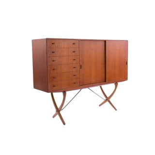 1950s Hans Wegner Ch-304 Teak and Brass Credenza For Sale
