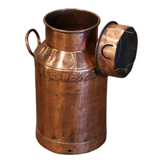 19th Century Belgium Polished Copper Plated Milk Container With Removable Lid For Sale