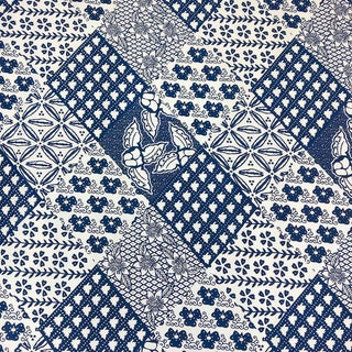 Vintage Blue White African Print Country Boho Fabric - 4 Yards For Sale