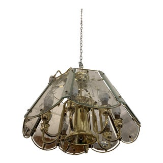 Late-20th Century Brass + Glass Chandelier For Sale