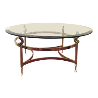 Chinoiserie Style Brass & Glass Coffee Table by Labarge