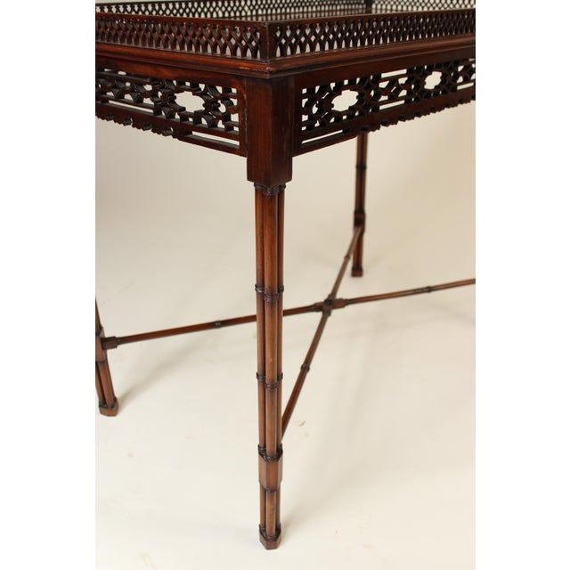 Mahogany Chinese Chippendale Style Mahogany Tea Table For Sale - Image 7 of 13