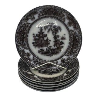 19th Century Podmore & Walker Corean Mulberry Dinner Plates- Set of 6 For Sale
