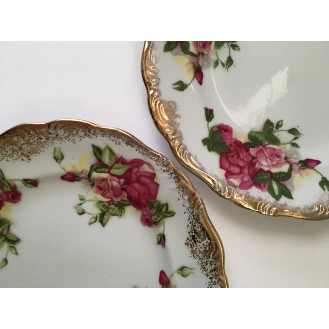 Traditional Vintage Gold & Rose Pattern Plates - A Pair For Sale - Image 3 of 3