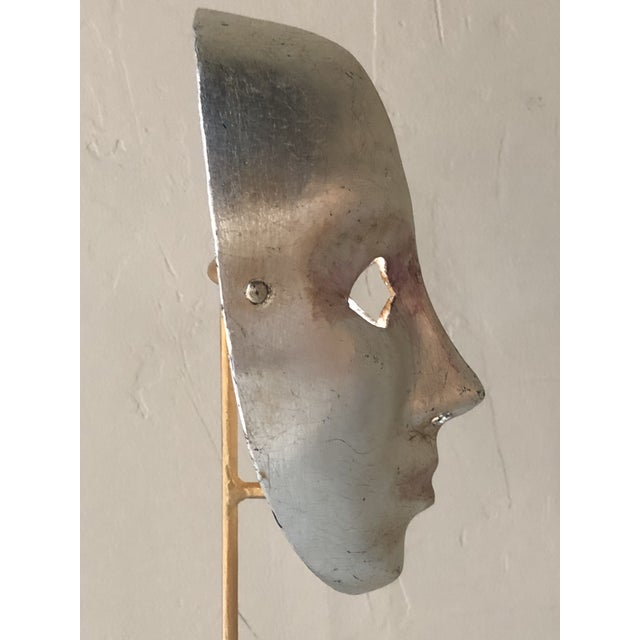 1960s Italian Paper-Maché Mask on Custom Stand For Sale - Image 5 of 9