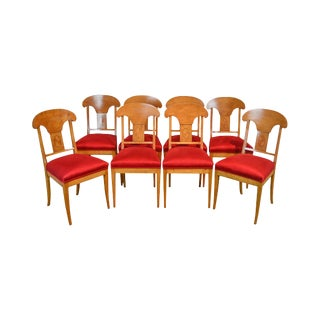 Biedermeier Style Vintage Set of 8 Inlaid Maple Dining Chairs