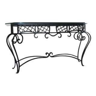 Ethan Allen Glass and Wrought Iron Console Table