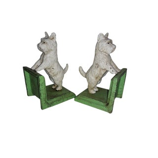 White Scottie Dog Cast Iron Bookends - a Pair For Sale