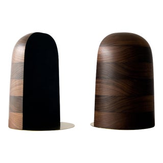 Bookends in Walnut and Brass For Sale
