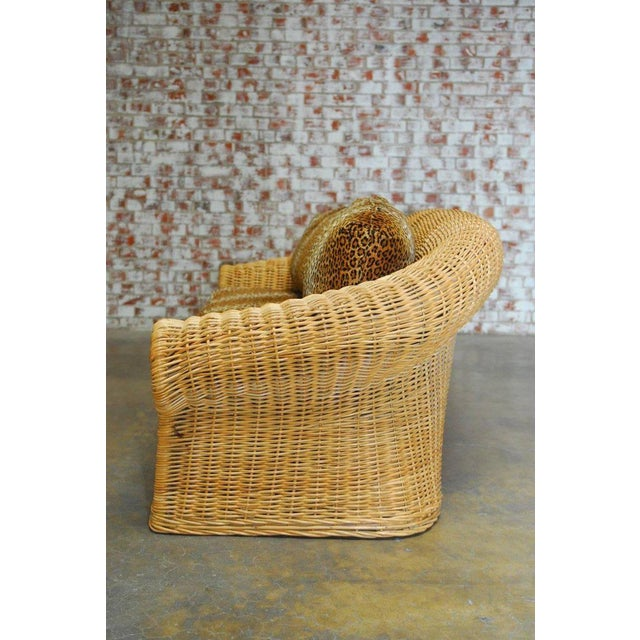 Wicker Michael Taylor Inspired Wicker Sofa Scalamandre Style Leopard Upholstery For Sale - Image 7 of 10