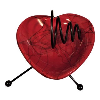 Mid-Century Modern Red Heart Ashtray & Stand For Sale