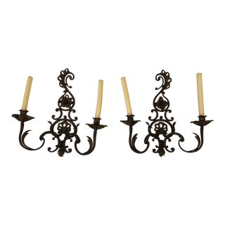 Country Gilt & Wrought Iron Candle Sconces - a Pair For Sale