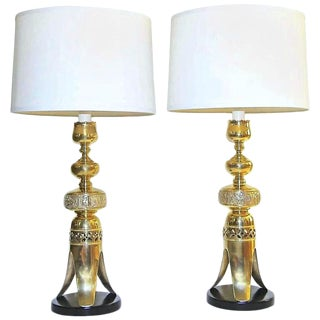 1960s Asian Altar Brass Candlestick Table Lamps - a Pair