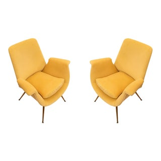 Canary Velvet Armchairs, Italy, 1960s - A Pair For Sale