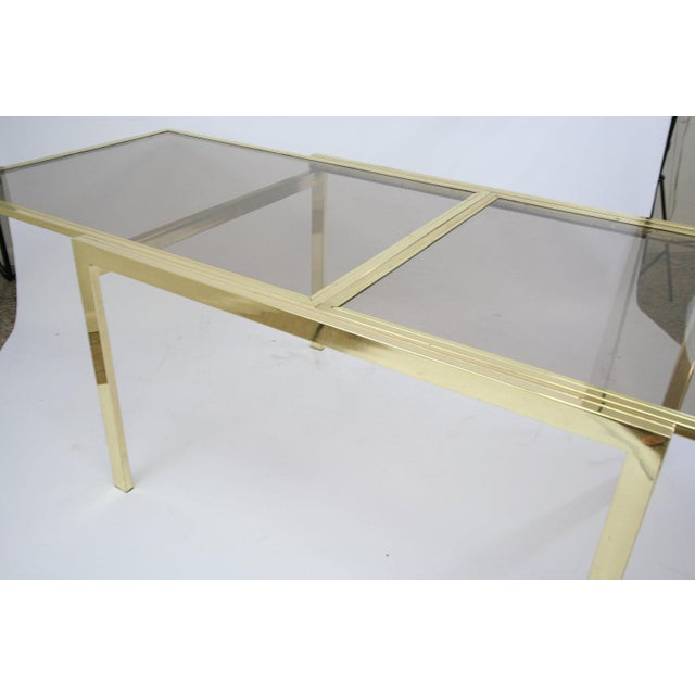 DIA - Design Institute America Dia Extending Brass Dining Table For Sale - Image 4 of 7