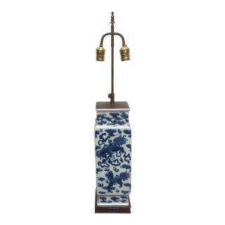 Antique Chinese Blue And White Porcelain Lamp For Sale