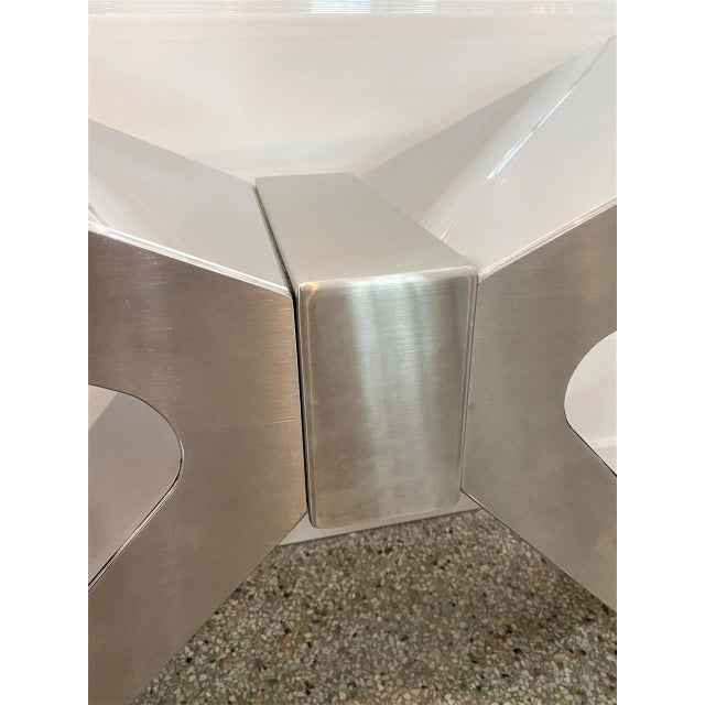 X-Form Console Table in Stainless Steel and Lucite For Sale In West Palm - Image 6 of 13