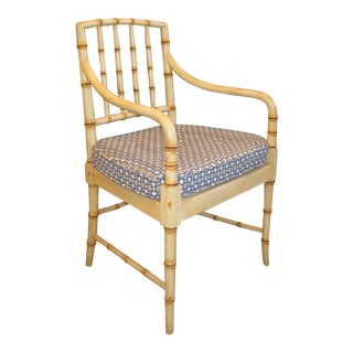 Vintage McGuire Faux Bamboo Arm Chairs With Custom Seat Cushions For Sale