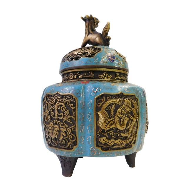 Asian Metal Blue Enamel Cloisonne Incense Burner For Sale - Image 3 of 7