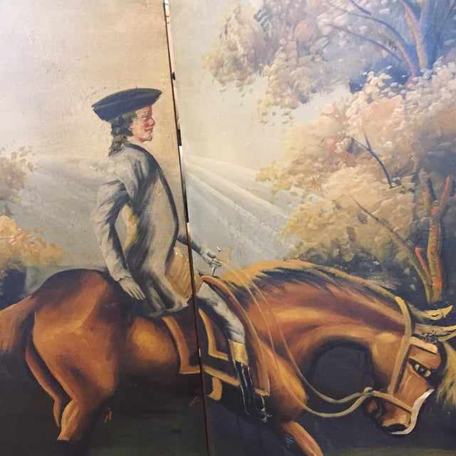 Hand Painted Colonial Scene Divider Screen For Sale - Image 10 of 11