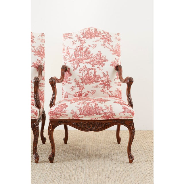 2000 - 2009 Pair of French Provincial Style Walnut Toile Fauteuil Armchairs For Sale - Image 5 of 13