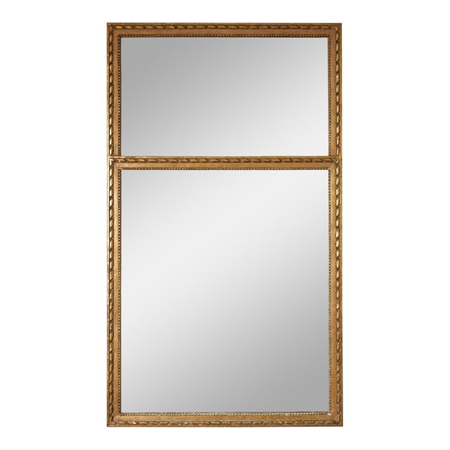 French Louis XVI Trumeau Mirror in Gray and Gilt For Sale
