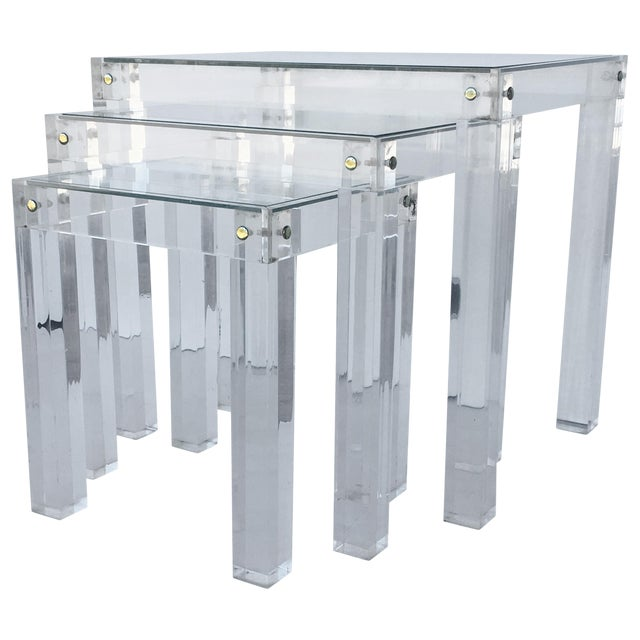 Set of Vintage Lucite and Glass Nesting Tables For Sale
