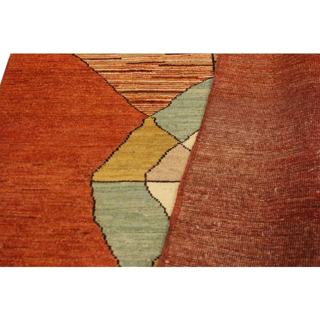 Textile Gabbeh Peshawar Gerry Orange/Gold Hand-Knotted Wool Rug -3'0 X 4'5 For Sale - Image 7 of 8