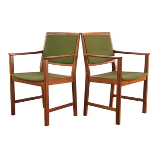 Skaraborgs Mobelindustri Teak and Original Green Knit Fabric Arm Chairs / Captain's Chairs - A Set of 2, Sweden For Sale