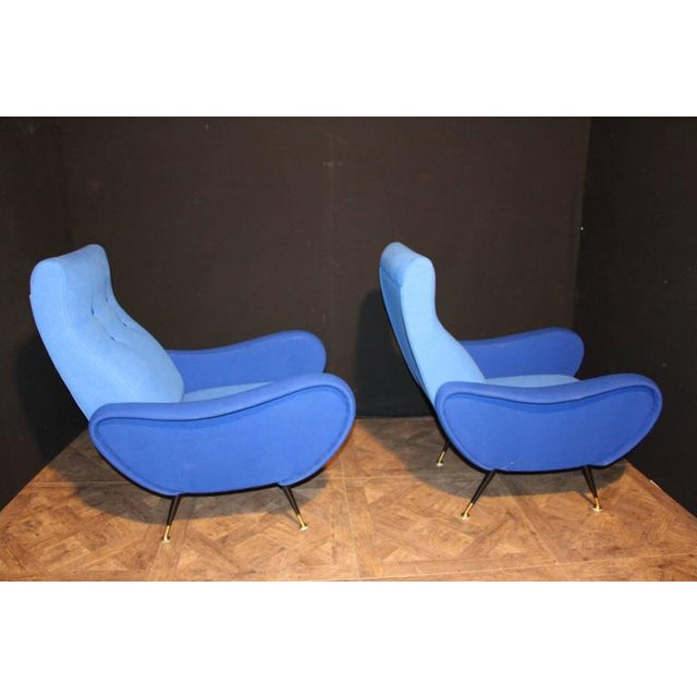 Brass Italian Pair of Blue Mid-Century Chairs in the Style of Zanuso For Sale - Image 7 of 8