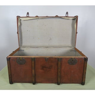19th C. French Leather Trunk W/ Brass Hardware Preview