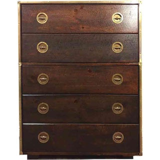 Mid Century Bassett Furniture Nautical Campaign Chest With Brass Trim For Sale