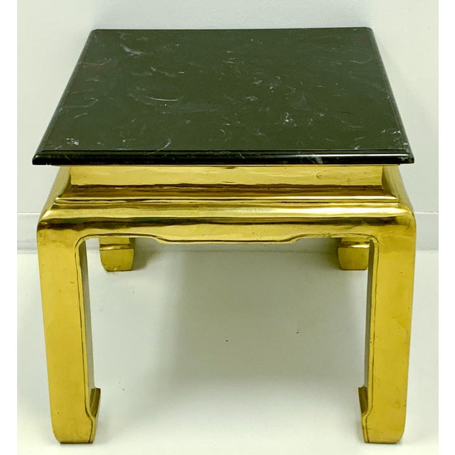 1970s Heavy Casted Brass & Marble Asian Style Table Att. Mastercraft For Sale - Image 5 of 7
