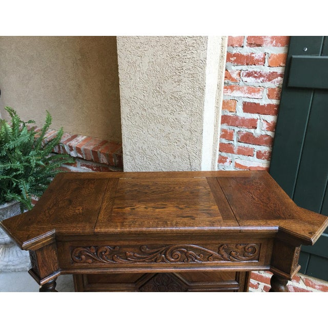 Brown Antique English Carved Oak Barley Twist Hall Console Table Cabinet Gothic Stand For Sale - Image 8 of 12