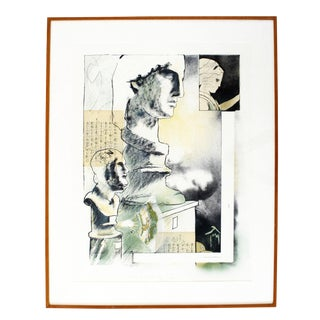 Mid Century Modern Framed Lithograph of Collage Mixed Media Signed Numbered For Sale