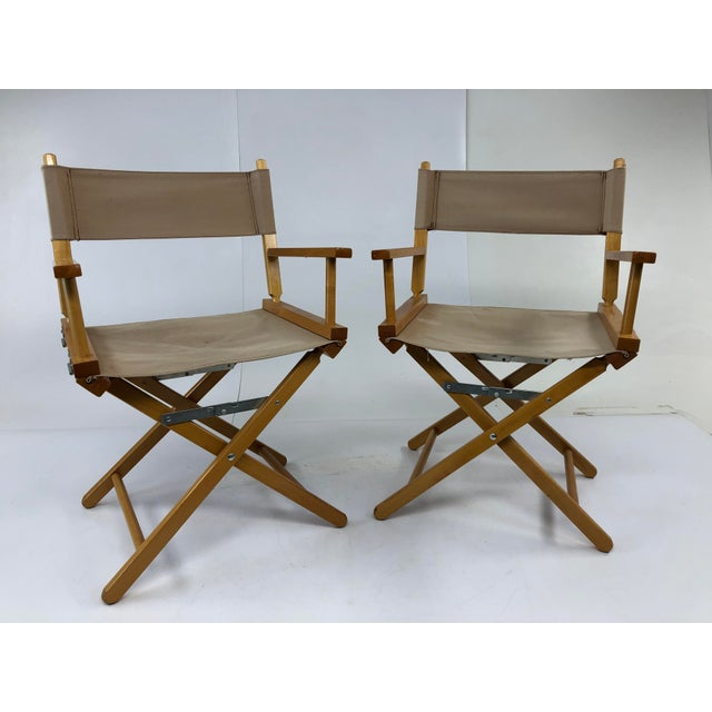 Vintage Wood & Canvas Folding Director Chairs - a Pair For Sale - Image 12 of 12