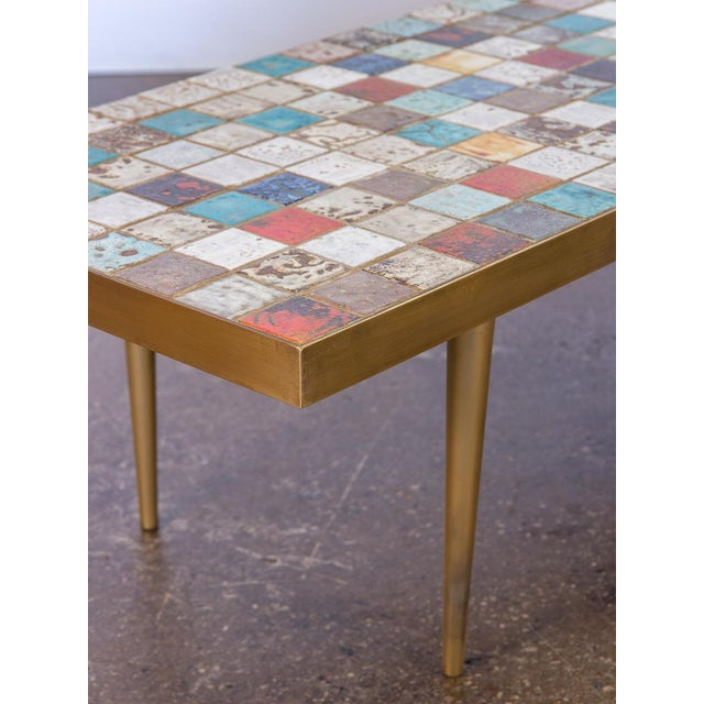 1960s California Modern Tile-Top Brass Coffee Table For Sale - Image 5 of 10