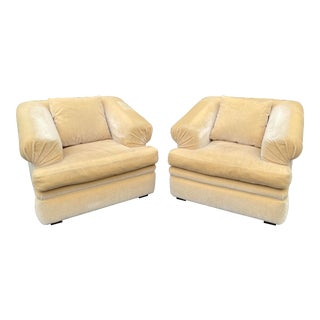 Art Deco Yellow Mohair Over Stuffed Club Chairs - a Pair For Sale