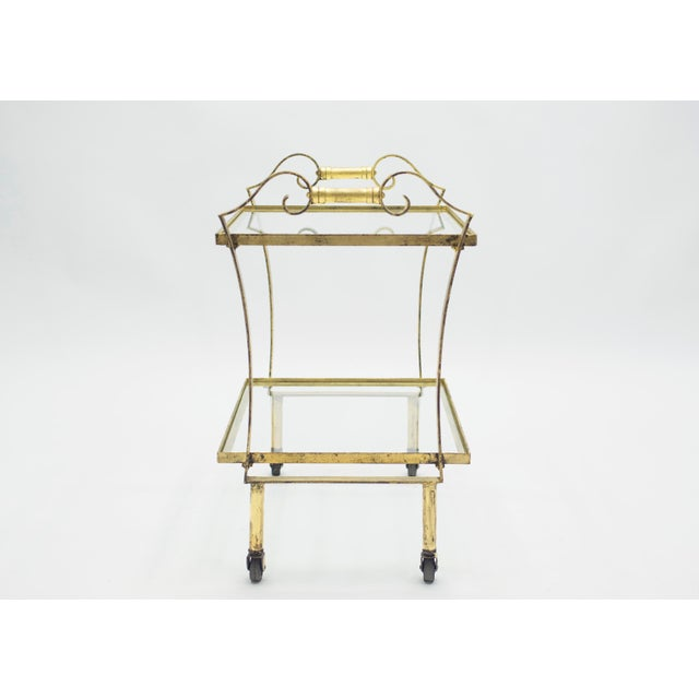 1940s French Neoclassical Maison Ramsay Gilded Iron Bar Cart 1940s For Sale - Image 5 of 12