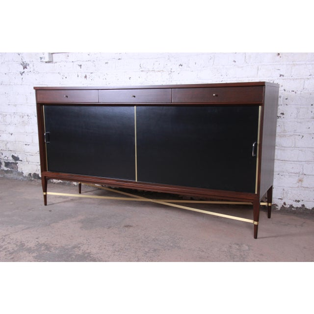 Danish Modern Paul McCobb Calvin Group Mahogany and Brass Credenza For Sale - Image 3 of 13