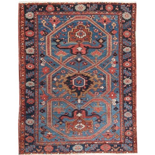 "Antique Heriz Wool Rug- 3'4"" x 4'5"""